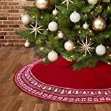 Dremisland Christmas Tree Skirt, Knitted Snowflake and Xmas Tree Pattern Thick Heavy Yarn Knit for A Warm Xmas Holiday Decora