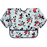 Bumkins Disney Mickey Mouse Sleeved Bib/Baby Bib/Toddler Bib/Smock, Waterproof, Washable, Stain and Odor Resistant, 6-24 Mont