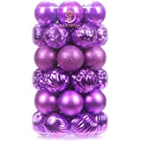Sea Team 41-Pack Christmas Ball Ornaments with Strings, 60mm/2.36-Inch Medium Size Baubles, Shatterproof Plastic Christmas Bu