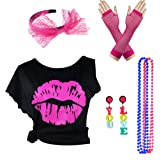 Women's 80's Off Shoulder T Shirt 1980's Theme Party Costume Outfit