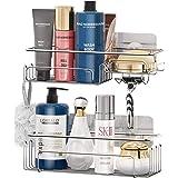 Shower Caddy Basket Shelf with Hooks, JOMARTO Bathroom Storage Rack for Hanging Razor/Shampoo Organizer No Drilling Adhesive