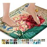 Britimes Bath Mats for Bathroom, Bathroom Mats Rugs No Silp, Pink Flowers Washable Cover Floor Rug Carpets Kitchen Floor Mat