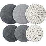 6 Pieces Pot Trivets Large Braided Woven Trivet Coaster, 7 Inch and 4.7 Inch Cotton Thread Weave Cup Coaster Hot Pot Dish Tri