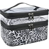 MKPCW Makeup Bags Double layer Travel Cosmetic Cases Make up Organizer Toiletry Bags (Leopard print)