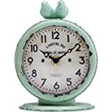 Nikky Home Shabby Chic Pewter Round Quartz Table Clock With 2 Birds