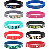 Florideco 10Pcs Silicone Inspirational Bracelets Set for Mens Women Religious Faith Rubber Wristbands Bracelet Bible Verse Me