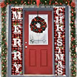 Merry Christmas Hanging Banner Porch Sign & Christmas Stree Snow Pattern Backdrop for New Year Home Yard Indoor Outdoor Wall