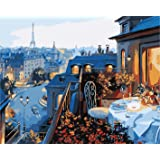 Paint by Numbers-DIY Digital Canvas Oil Painting Adults Kids Paint by Number Kits Home Decorations- Paris Hotel 16 * 20 inch