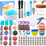 Cake Decorating Supplies Kit - 291 Piece Baking Decorating Tips Set Bakeware Set with Turntable, Spatula, Russian Piping Tips