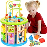 BATTOP 10-in-1 Multi Play Activity Cube,Baby Wooden Activity Cube Toys Bead Maze Educational Toys for 1 Year Old Boys & Girls
