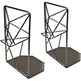 EZDC Space Grey Liquid Metal Bookends Decorative Pair, Stereoscopic Decorative Bookends for Shelves, Book Holders for Shelves