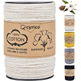 cyrico Macrame Cord 3mm x 252 Yards, 100% Natural Unbleached Cotton Macrame Rope - 3 Strands Twisted Macrame Cotton Cord for