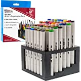 U.S. Art Supply 60 Hole Multi-Level Plastic Organization Rack Pencil, Brush & Supply Holder - Desk Stand Holding Rack for Pen