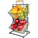 Hillbond 2-Tier Fruit Basket for Kitchen Countertop Metal Vegetable Bowl for Home Decor & Bathroom Fruit Holders Bread & Snac