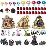 44 Pieces Miniature Fairy Garden Accessories, Including Miniature Fairy Garden House, DIY Dollhouse Ornaments Kits Fairy Gard