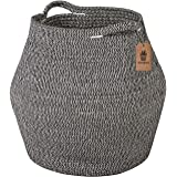 Goodpick Cotton Rope Storage Basket Woven Baby Laundry Basket for Storage, Plant Pot, Beach Bag, and Kids' Toys Home Decor Bl