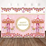 Mocsicka Happy Birthday Pink Carousel Backdrop Romantic Birthday Baby Showe Party Backdrops for Girls 7X5ft Vinyl...