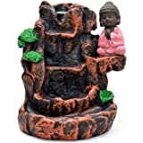GENX Little Monk Buddha Design Smoke Backflow Cone Decorative Incense Holder Free10 Smoke Backflow Scented Cone Incenses Show