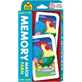 School Zone - Memory Match Farm Card Game - Ages 3+, Preschool to Kindergarten, Animals, Early Reading, Counting, Matching, V