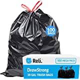 Reli. 39 Gallon Trash Bags Drawstring (100 Count) Large 39 Gallon Heavy Duty Drawstring Trash Bags - Black Garbage Bags 39 Ga