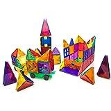 PicassoTiles 180 Piece Set 180pc Building Block Toy Deluxe Construction Kit Magnet Building Tiles Clear Color Magnetic 3D Con