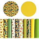 Pllieay 10 Pieces Sunflowers Printed Faux Leather Sheet Glitter PU Synthetic Leather Sheet for Earrings Headbands Making (8.2
