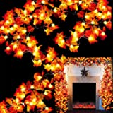 TURNMEON 6 Pack Thanksgiving Decor Fall Maple Leaves Garland LED Lights - 120 LED Lamps + 120 Autumn Maple Leaves 60 Ft Strin