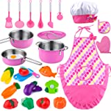 GiftInTheBox Kids Kitchen Toys, Toddler Cooking Set, Kitchen Play Accessories with Pots and Pans, Chef Aprons Set, Cutting Ve
