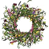 Martine Mall Garlands Front Door Wreath, Artificial Hanging Wreath Spring Floral Wreath with Green Leaves forGarden Party Ho