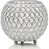 VINCIGANT Silver Crystal Clear Display Vases/Bowl Candleholders/Candle Shade for Anniversary Celebration,Modern Home Holiday