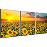 BLUE RED CYAN Black White Sunflower Canvas Painting - Yellow Flowers Wall Pictures for Living Room 3 Panels Wall Art Posters