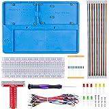 SunFounder Breadboard Kit RAB Holder, 830 Points Solderless Circuit Breadboard, Jumper Wires, LED, Resistors for Arduino Uno