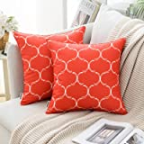 MIULEE Pack of 2 Decorative Outdoor Waterproof Throw Pillow Covers Morocco Geometric Floral Pattern Square Pillowcases Cushio