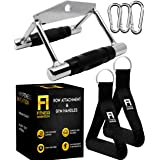 Fitness Invention Double D Handle Cable Attachment + 2 Gym Handles + 3 Snap Hooks - V Bar Cable Attachment - Close Grip Row H