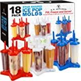 U.S. Kitchen Supply Jumbo Set of 18 Star Shaped Ice Pop Molds - Sets of 6 Red, 6 White & 6 Blue - Reusable USA Colored Ice Po