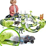 Dinosaurs Race Track Toy for Boys Girls Race Car Track for Kids Age 3-6 Dino Toys with 144 Flexible Track, 2 LED Dinosaur Rac