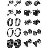 LOYALLOOK 10Pairs Stainless Steel Earrings For Men Tiny Ball Stud Earrings Cartilage Earrings Endless Earrings For Men Black