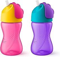 Philips Avent My Bendy Straw Cup, 10oz, 2pk, Pink/Purple, SCF792/22