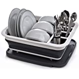 Collapsible Dish Drying Rack - Popup and Collapse for Easy Storage, Drain Water Directly into the Sink, Room for Eight Large
