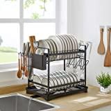 Dish Drying Rack, 2-Tier Dish Rack and Drain Board Set, Kitchen Organizer with Swivel Spout, Utensil Holder, Cup Holder and D