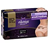 Always Discreet Boutique Incontinence & Postpartum Underwear for Women, Disposable, Maximum Protection, Peach, Small/Medium,