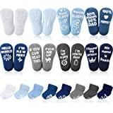 8 Pairs Baby Ankle Crew Socks with Grips, Ankle Thick Cotton Socks Non-Skid Gripper Socks Cotton Turn Cuff Socks with Funny W