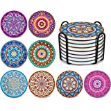 Darate Absorbent Coasters with Holder Set of 8, Coasters for Drinks, Unique Housewarming Gift, 4 Inch Round Coaster for Bedro