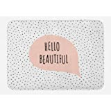 Ambesonne Hello Bath Mat, Romantic and Motivational Message in a Pastel Colored Speech Balloon Hand Drawn Dots, Plush Bathroo