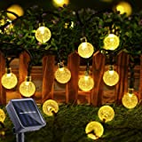 Solar String Lights 50 LED 29.5ft Solar Patio Lights with 8 Modes, Waterproof Crystal Ball String Lights for Patio, Lawn, Gar