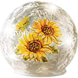 Collections Etc LED Lighted Sunflowers Crackled Glass Balls | Bright, Cheerful Sunflowers |Sparkling Glitter, Crystal Accents
