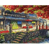DIY 数字油絵 キャンバスの油絵 大人の子供のためのギフト 数字キットでペイント ホームデコレ ー 茶屋 40* 50 cm