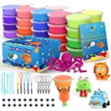 Cutedeer 36 Colors Air Dry Clay Kit for Kids, Magic Modeling Clay Ultra Light Clay with Sculpting Tools, Accessories & Tutori