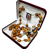 Holy Land Olive Wood Catholic Rosary from Israel, Solid Wooden Dangling Cross Pendant, Large Beads, for Men and Women, Housed
