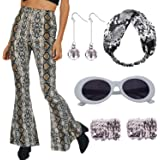 Dorigan Women 70's Dance Costume Sequin High Waisted Flared Pant with Disco Ball Earring